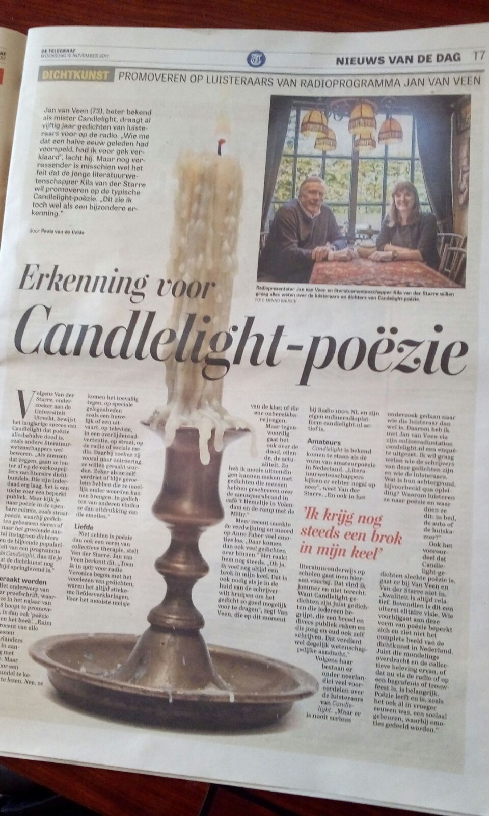 Candlelight in De Telegraaf 15 november 2017
